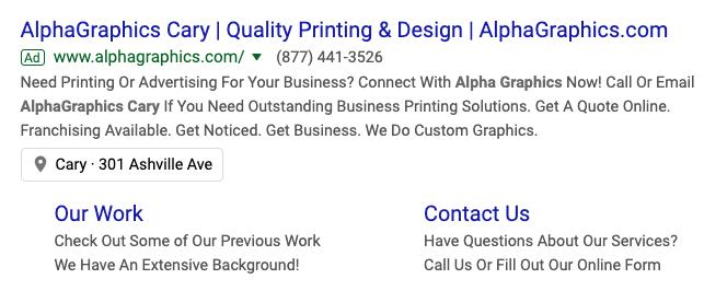 Alpha Graphics Google Ad